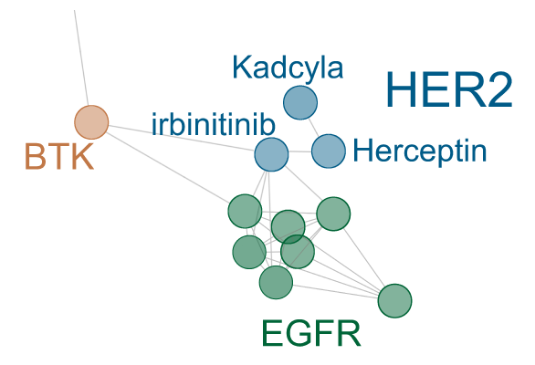 Network tree of cellular responses of HER2 and EGFR inhibitors. Connections are drawn if the Pearson correlation between 10logIC50 profiles exceeds 0.5